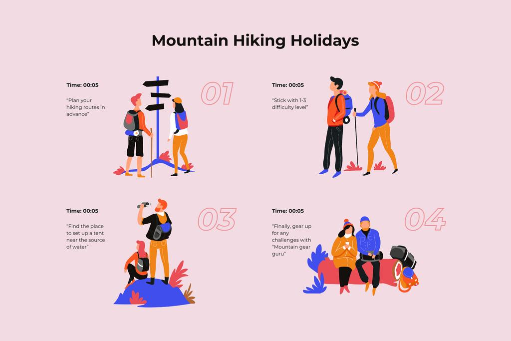 Couple Hiking in mountains Storyboard Design Template