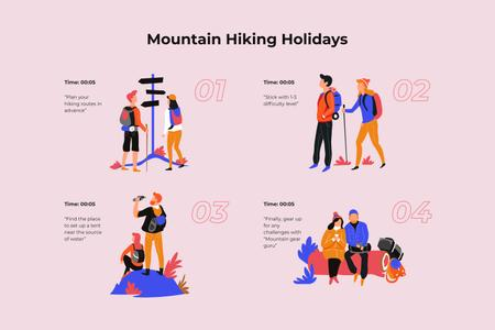 Couple Hiking in mountains Storyboardデザインテンプレート