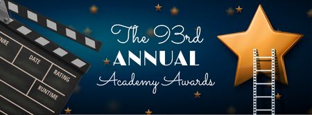 Ontwerpsjabloon van Facebook cover van Annual Academy Awards Announcement with Star and Clapper