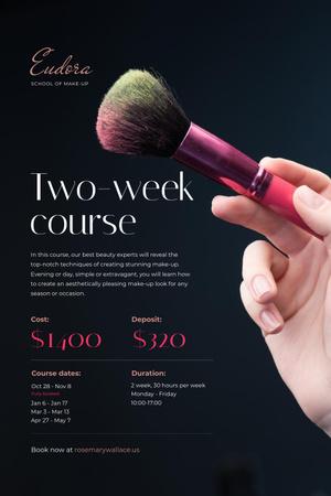 Plantilla de diseño de Makeup Courses Promotion with Hand holding Brush Pinterest