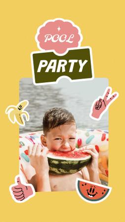 Pool Party Invitation with Kid eating Watermelon Instagram Story – шаблон для дизайну