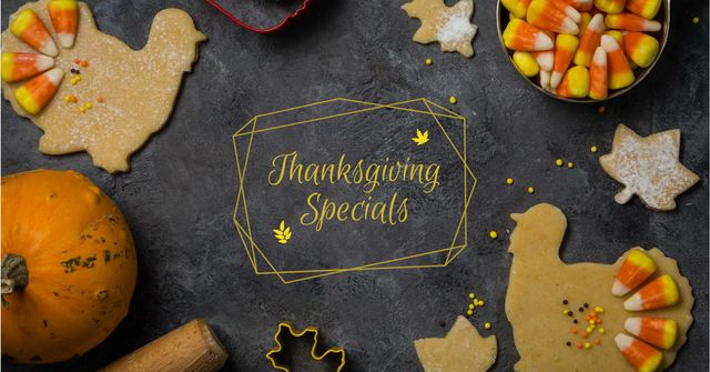Thanksgiving Specials Offer with Pumpkins Facebook AD Modelo de Design