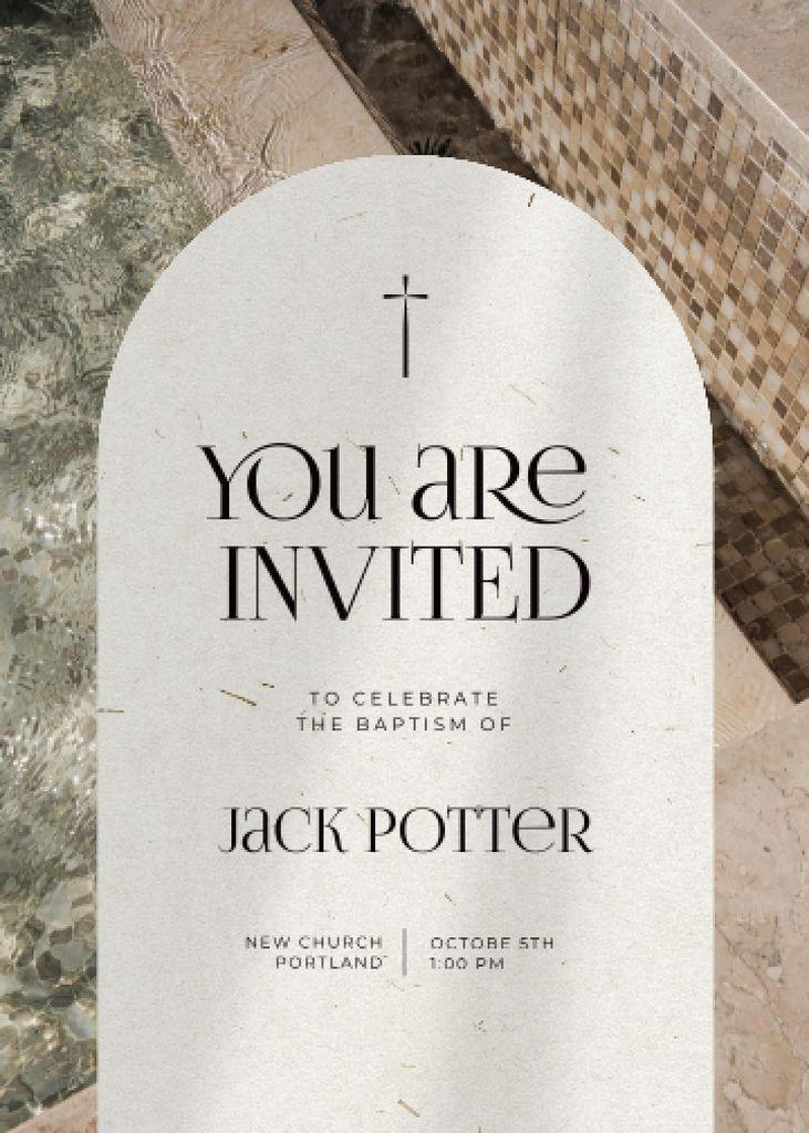 Baptism Celebration Announcement with Christian Cross Invitation – шаблон для дизайна