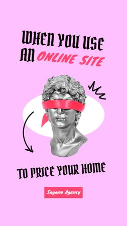 Template di design Real Estate Agency Ad with Funny Statue in Blindfold Instagram Story
