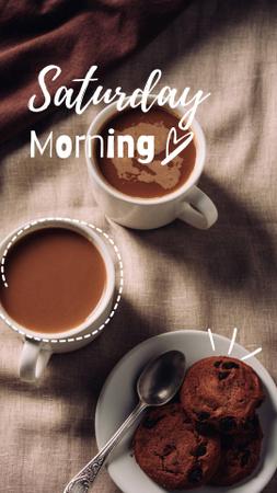 Ontwerpsjabloon van Instagram Story van Breakfast with Coffee and Cookies