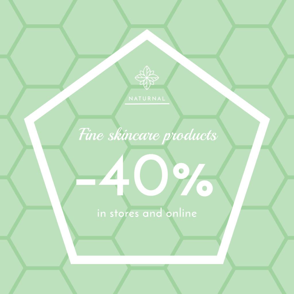Skincare products sale ad on geometric texture — Crea un design