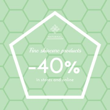 Skincare products sale ad on geometric texture