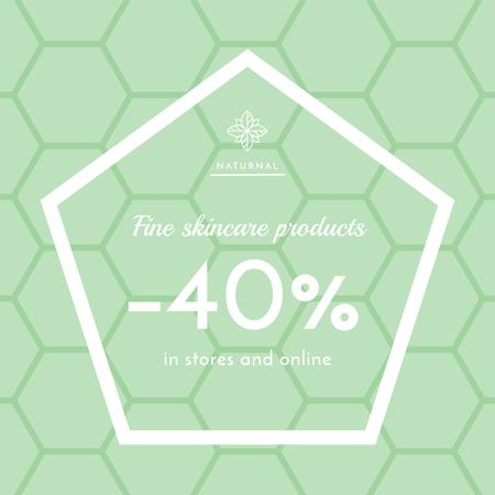 Skincare products sale ad on geometric texture Instagram ADデザインテンプレート
