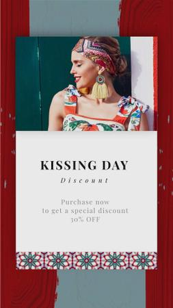 Designvorlage Kissing Day Sale Woman in Bright Dress für Instagram Video Story