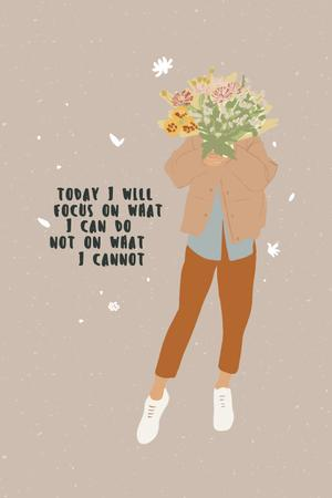 Mental Health Inspiration with Woman holding Bouquet Pinterest Design Template