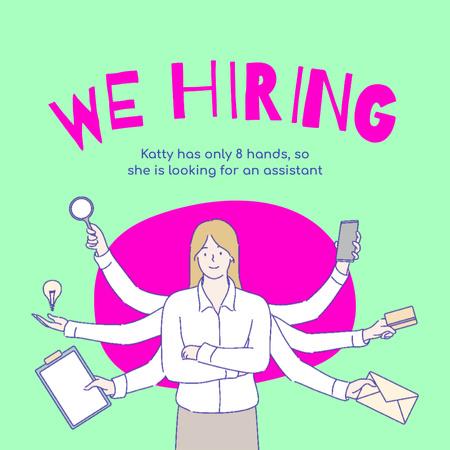 Designvorlage Vacancy Ad with Multitasking Woman für Instagram