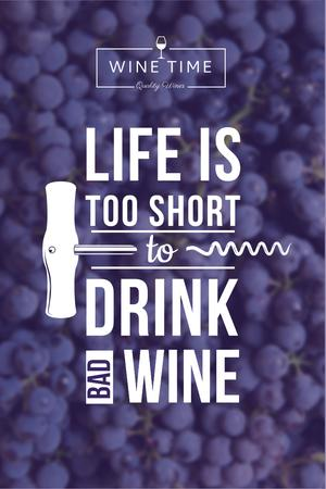 Wine quote on currants background Pinterest Design Template