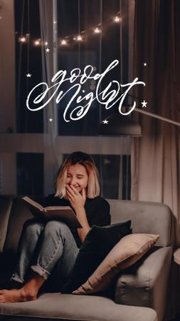 Ontwerpsjabloon van Instagram Video Story van Good Night Wishing With Girl in Cozy Atmosphere