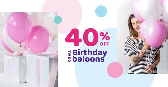 Ontwerpsjabloon van Facebook AD van Birthday Balloons Offer with Cute Girl