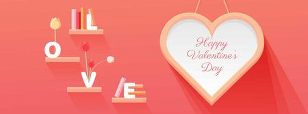 Plantilla de diseño de Valentine's Day Greeting with Big Heart Facebook cover