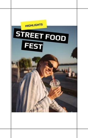 Ontwerpsjabloon van IGTV Cover van Street Food fest announcement with Smiling Girl