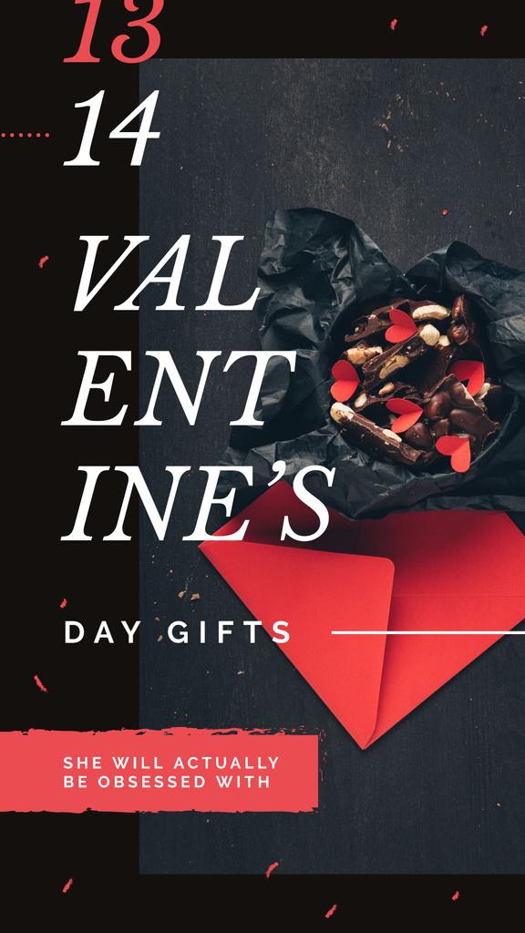 Festive Valentines Day Gift box Instagram Story Modelo de Design