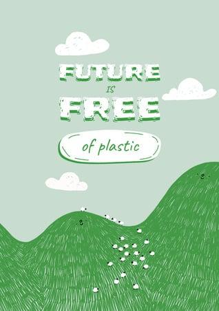 Modèle de visuel Eco Concept with Green Hill illustration - Poster