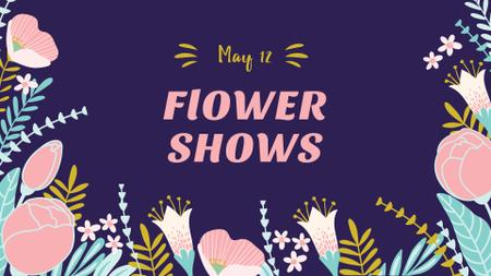 Flower Shows Announcement with Floral Illustration FB event cover – шаблон для дизайну