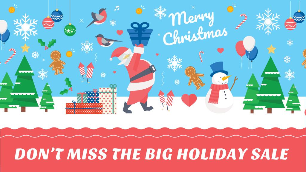 Plantilla de diseño de Christmas Holiday Sale with Santa Delivering Gifts Youtube
