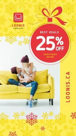 Furniture Christmas Sale Family on Yellow Couch Instagram Story Modelo de Design