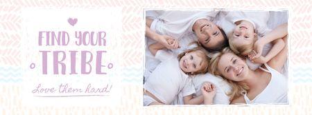 Plantilla de diseño de Happy Family in circle Facebook cover