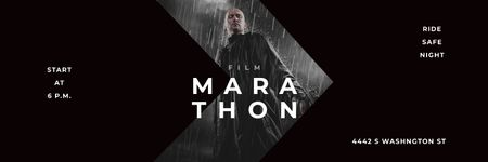 Film Marathon Ad Man with Gun under Rain Twitter Modelo de Design