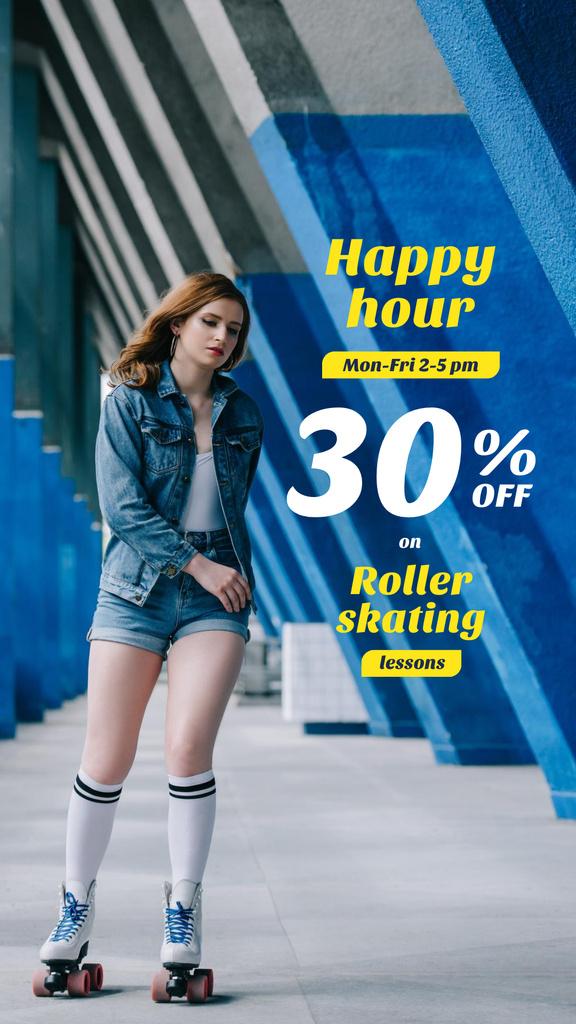 Szablon projektu Happy Hour Offer with Girl Rollerskating Instagram Story