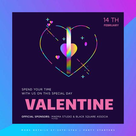 Plantilla de diseño de Valentine's Day Card with glowing heart Animated Post