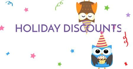 Holiday Discounts with Cute Owls Facebook AD Tasarım Şablonu