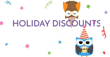 Holiday Discounts with Cute Owls Facebook AD Modelo de Design