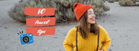 Designvorlage Happy Young Girl on a walk für Facebook cover