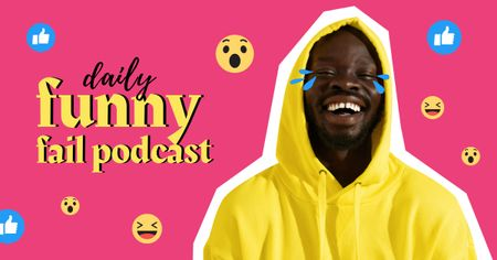 Comedy Podcast Announcement with Funny Man Facebook AD – шаблон для дизайна