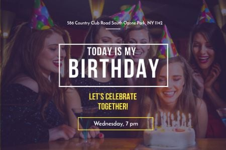Birthday Party with Girl Blowing Candles on Cake Gift Certificate – шаблон для дизайна