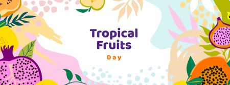 Tropical Fruits Day Announcement Facebook coverデザインテンプレート