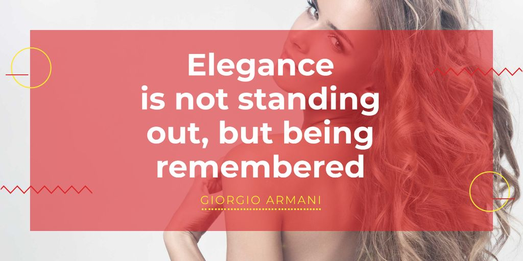 Elegance quote with Young attractive Woman Image Design Template