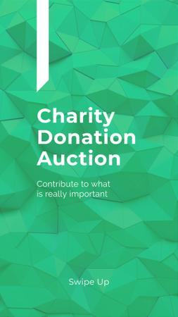 Charity Event Announcement on Green Abstract Pattern Instagram Story Modelo de Design