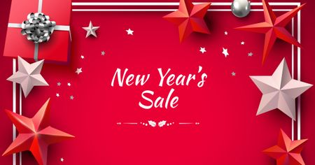 Ontwerpsjabloon van Facebook AD van New Year's Sale in Red Stars Frame