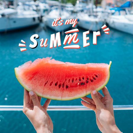 Designvorlage Summer Mood with Juicy Watermelon für Instagram