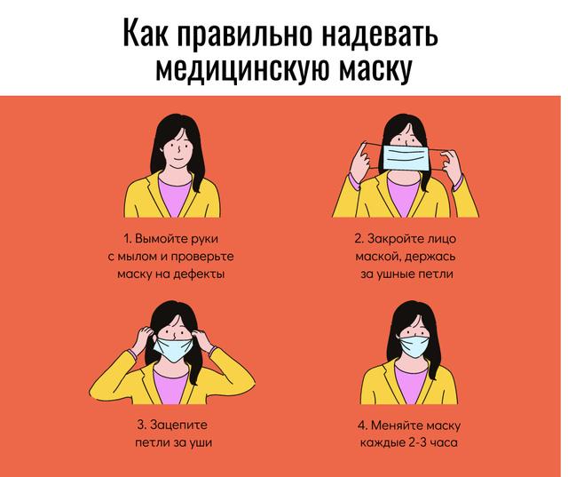 Coronavirus safety rules with Woman wearing Mask Facebook – шаблон для дизайна