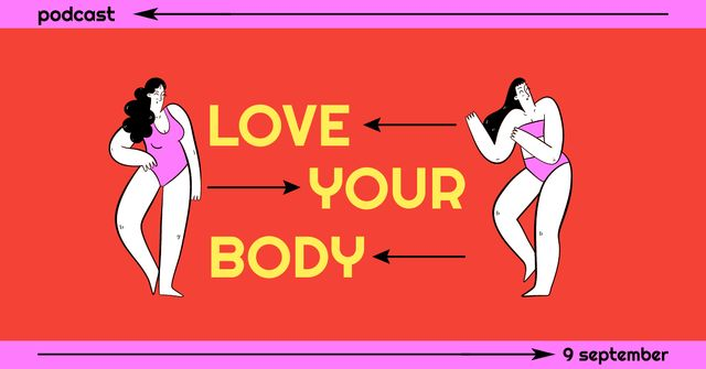 Podcast Topic Announcement about Body Positive Facebook ADデザインテンプレート