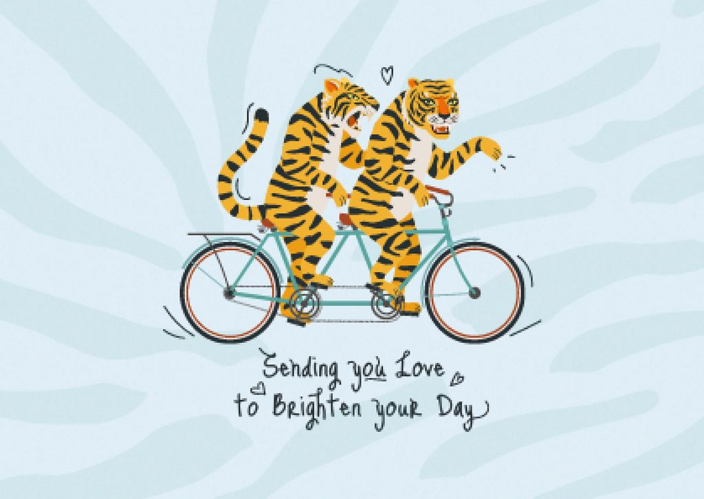 Plantilla de diseño de Cute Love Phrase with Tigers on Tandem Bike Card