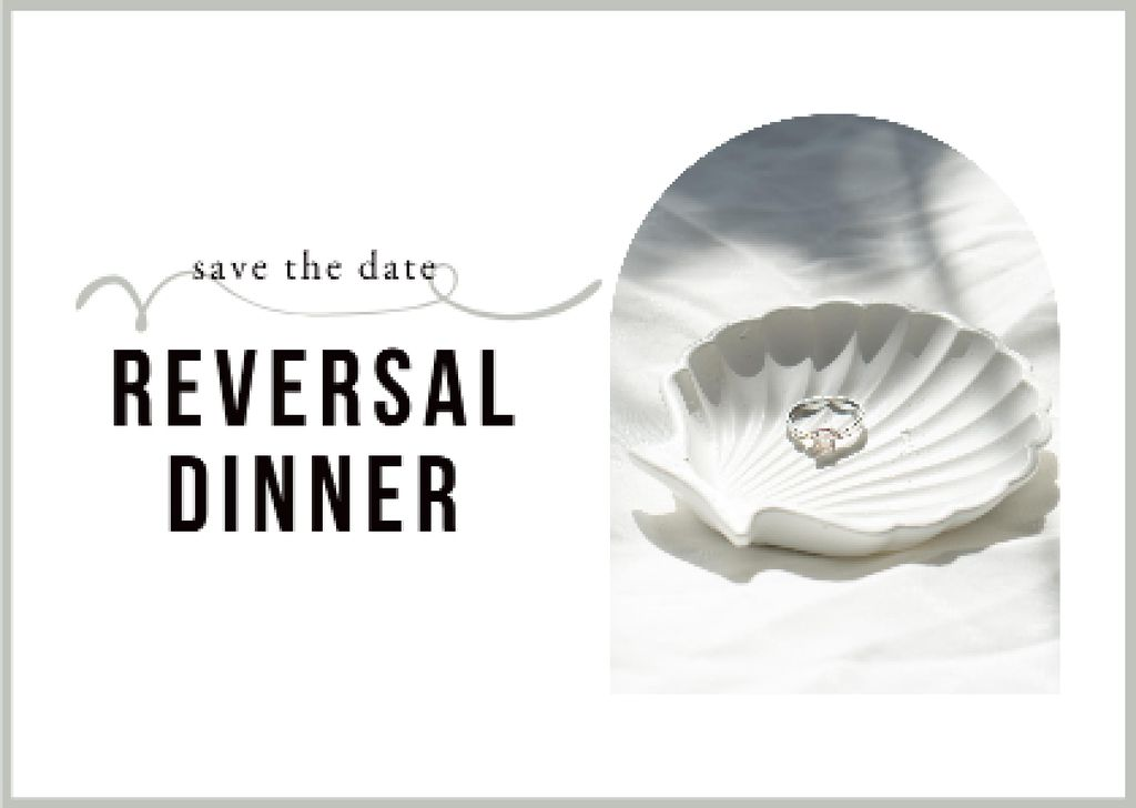 Reversal Dinner Announcement with Wedding Ring in Seashell Card – шаблон для дизайна