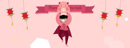 Theme Party for Kids Organization Girl in Pig Costume Facebook Video cover Modelo de Design