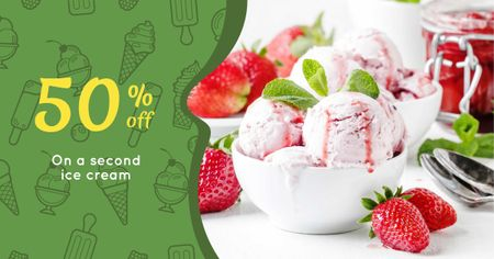 Ice Cream Discount Offer with Strawberry Facebook AD Design Template