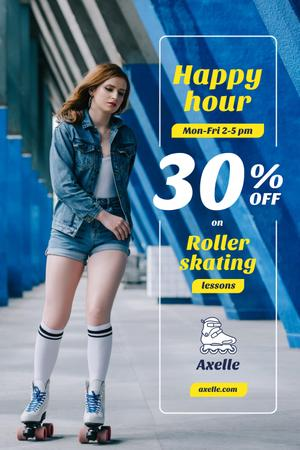 Happy Hour Offer with Girl Rollerskating Pinterest Design Template