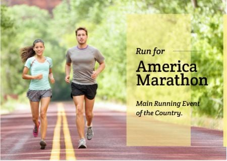 Ontwerpsjabloon van Postcard van America marathon Announcement with People running