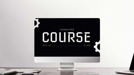 Szablon projektu Computer Course Announcement on Dark Monitor FB event cover