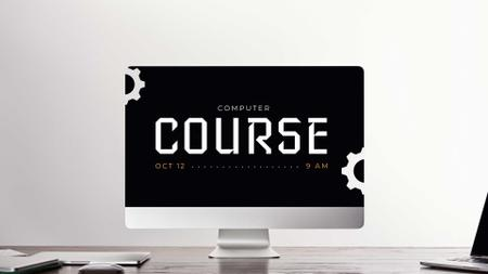 Computer Course Announcement on Dark Monitor FB event cover – шаблон для дизайна
