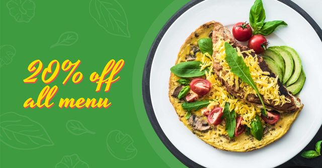 Omelet dish with Vegetables Facebook AD Modelo de Design